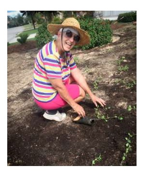 Mary Wolf working in her front yard.